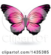 Clipart Of A Pink Butterfly With A Shadow Royalty Free Vector Illustration by cidepix
