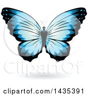 Clipart Of A Blue Butterfly With A Shadow Royalty Free Vector Illustration by cidepix