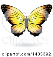Clipart Of A Yellow Butterfly With A Shadow Royalty Free Vector Illustration