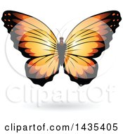 Clipart Of A Pretty Orange Butterfly With A Shadow Royalty Free Vector Illustration