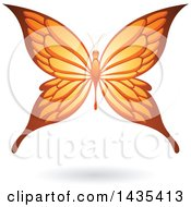 Clipart Of A Flying Orange Butterfly And Shadow Royalty Free Vector Illustration