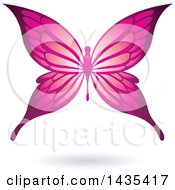Clipart Of A Flying Pink Butterfly And Shadow Royalty Free Vector Illustration