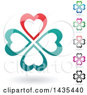Clipart Of Floating Heart Clovers With Shadows Royalty Free Vector Illustration by cidepix