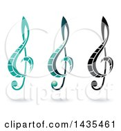 Clipart Of Floating Music Clef Symbols And Shadows Royalty Free Vector Illustration by cidepix