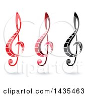 Floating Music Clef Symbols And Shadows