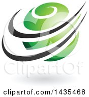 Clipart Of A Green Orbital Planet With Black Rings And A Shadow Royalty Free Vector Illustration
