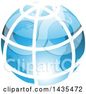 Blue Grid Earth Globe