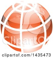 Orange Grid Earth Globe