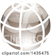 Clipart Of A Grid Earth Globe Royalty Free Vector Illustration