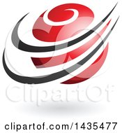 Clipart Of A Red Orbital Planet With Black Rings And A Shadow Royalty Free Vector Illustration