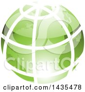 Clipart Of A Green Grid Earth Globe Royalty Free Vector Illustration