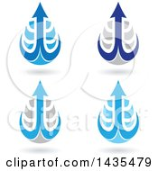 Clipart Of Floating Abstract Waterdrops With Arrow Hooks And Shadows Royalty Free Vector Illustration
