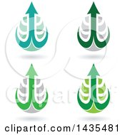 Floating Abstract Waterdrops With Arrow Hooks And Shadows