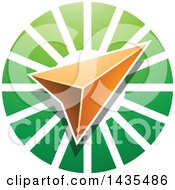 Clipart Of A Navigation Arrow Over A Green Circle Royalty Free Vector Illustration