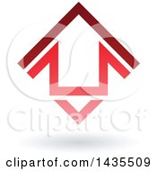 Floating Abstract House Arrow Icon And Shadow