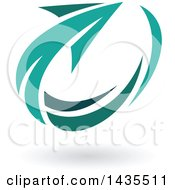Clipart Of A Turquoise Circling Arrow And Shadow Royalty Free Vector Illustration by cidepix