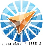 Clipart Of A Navigation Arrow Over A Blue Circle Royalty Free Vector Illustration
