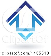 Clipart Of A Floating Abstract House Arrow Icon And Shadow Royalty Free Vector Illustration by cidepix