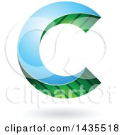Clipart Of A Skewed Letter C Design With A Shadow Royalty Free Vector Illustration by cidepix