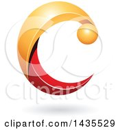 Clipart Of A Yellow And Red Letter C With A Shadow Royalty Free Vector Illustration