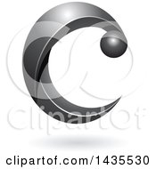 Clipart Of A Black Letter C With A Shadow Royalty Free Vector Illustration