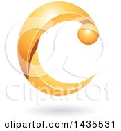 Clipart Of A Letter C With A Shadow Royalty Free Vector Illustration