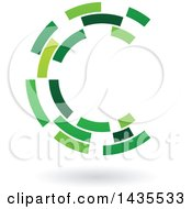 Green Abstract Floating Letter C Made Of Triangles With A Shadow