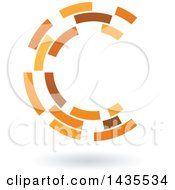 Brown And Orange Abstract Floating Letter C Made Of Triangles With A Shadow