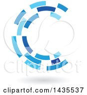 Blue Abstract Floating Letter C Made Of Triangles With A Shadow