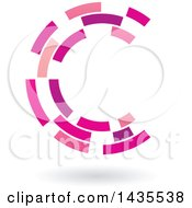 Pink And Purple Abstract Floating Letter C Made Of Triangles With A Shadow