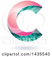 Skewed Letter C Design With A Shadow
