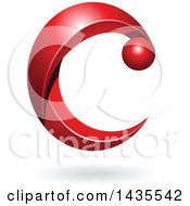 Clipart Of A Red Letter C With A Shadow Royalty Free Vector Illustration