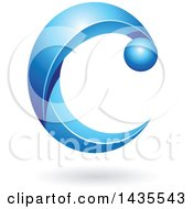 Clipart Of A Blue Letter C With A Shadow Royalty Free Vector Illustration
