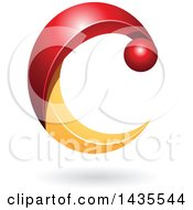 Clipart Of A Red And Orange Letter C With A Shadow Royalty Free Vector Illustration