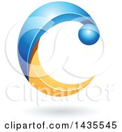 Clipart Of A Blue And Orange Letter C With A Shadow Royalty Free Vector Illustration