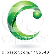Clipart Of A Green Letter C With A Shadow Royalty Free Vector Illustration