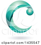 Clipart Of A Turquoise Letter C With A Shadow Royalty Free Vector Illustration