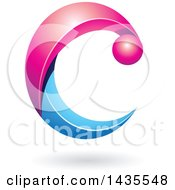 Clipart Of A Pink And Blue Letter C With A Shadow Royalty Free Vector Illustration