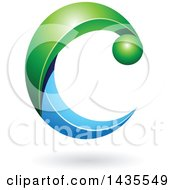 Clipart Of A Green And Blue Letter C With A Shadow Royalty Free Vector Illustration