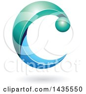 Clipart Of A Turquoise And Blue Letter C With A Shadow Royalty Free Vector Illustration
