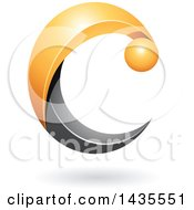 Clipart Of A Black And Yellow Letter C With A Shadow Royalty Free Vector Illustration