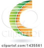 Clipart Of A Letter C Design With Stripes And A Shadow Royalty Free Vector Illustration