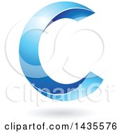 Clipart Of A Twisting Letter C Design With A Shadow Royalty Free Vector Illustration