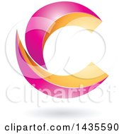 Clipart Of A Two Pieced Letter C Design With A Shadow Royalty Free Vector Illustration