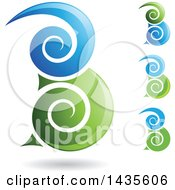 Clipart Of Floating Abstract Swirly Capital Letter B Designs With Shadows Royalty Free Vector Illustration