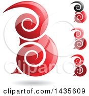 Floating Abstract Swirly Capital Letter B Designs With Shadows