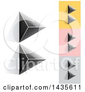 Black Abstract 3d Pyramids Forming Letter B Designs