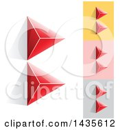 Clipart Of Red Abstract 3d Pyramids Forming Letter B Designs Royalty Free Vector Illustration