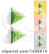 Clipart Of Green Abstract 3d Pyramids Forming Letter B Designs Royalty Free Vector Illustration