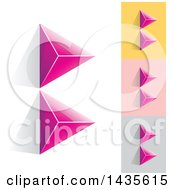 Pink Abstract 3d Pyramids Forming Letter B Designs